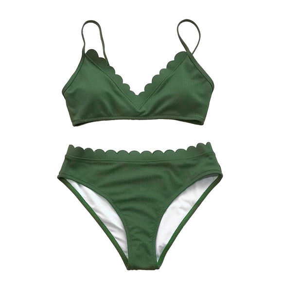 Scalloped Trim Bikini Set