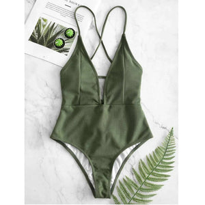 Olive Green Deep V-Neck Lace Back Swimsuit