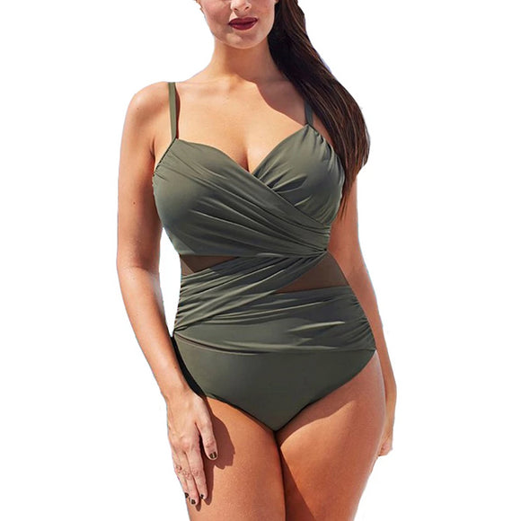 Mesh Slim-Cut Design Backless Swimsuit
