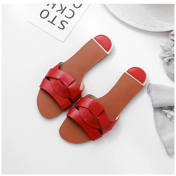 Bohemian Red Beach Slippers