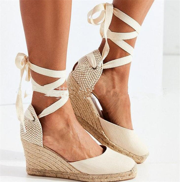 Beige Canvas Lace-Up Wedge