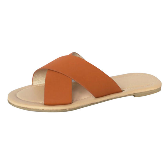 Brown | Cross Flat Slip On Round Toe Slippers