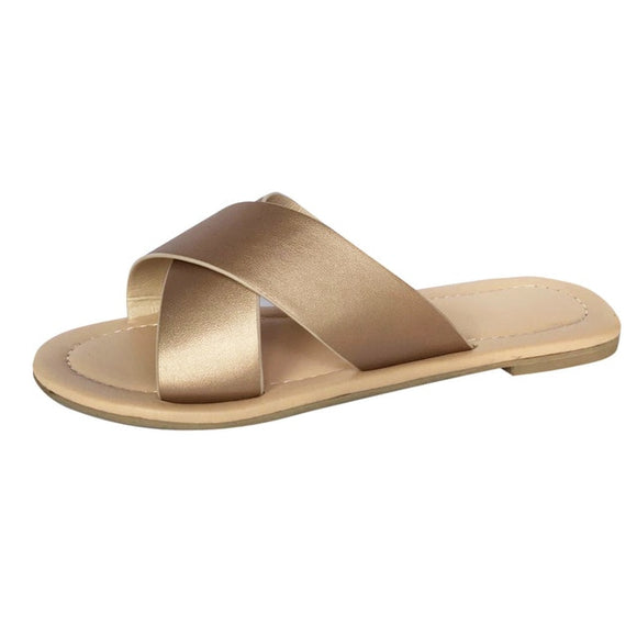 Rose Gold | Cross Flat Slip On Round Toe Slippers