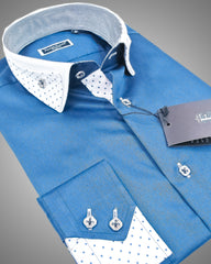 Blue dress shirt with reverse collar | Mens designer shirts
