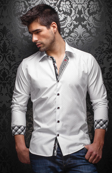 Au Noir Collection: White Dress Shirt For Men With Jacquard Fabric