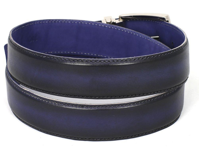 Men Fashion - PAUL PARKMAN Men's Leather Belt Dual Tone Navy & Blue
