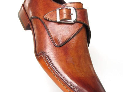 Paul Parkman Men's Monkstrap Shoes Side Handsewn Twisted Leather Sole Tobacco