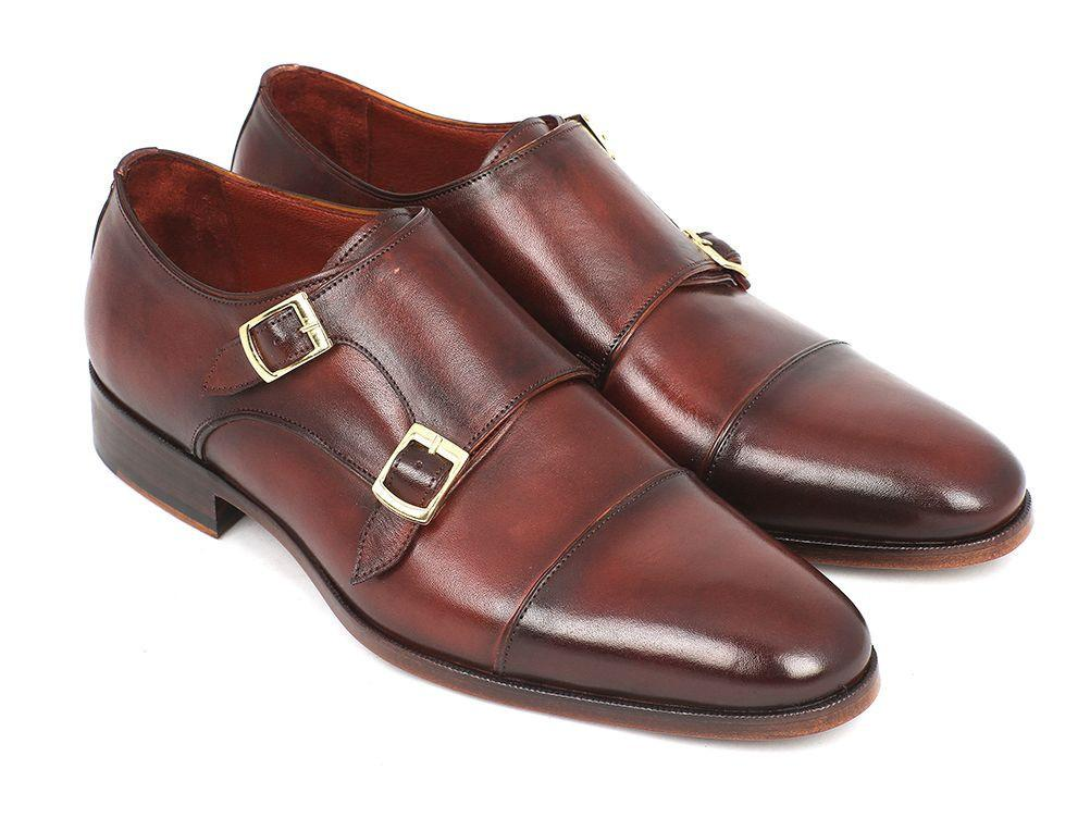 Men Fashion - Paul Parkman Men's Cap-Toe Double Monkstraps Brown