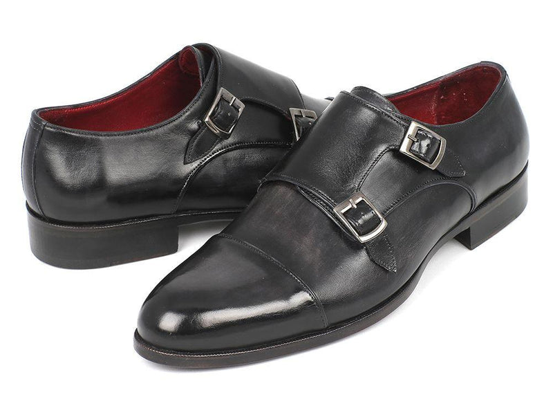 Men Fashion - Paul Parkman Men's Cap-Toe Double Monkstraps Gray & Black