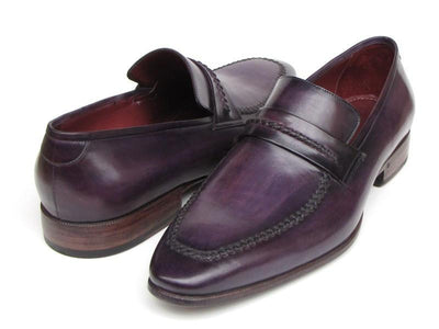 Paul Parkman Men's Purple Loafers Handmade Slip-On Shoes
