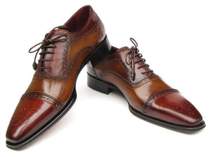 Paul Parkman Men's Captoe Oxfords - Camel / Red Hand-Painted Leather Upper and Leather Sole (ID#024-CML-BRD)