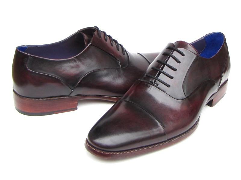 Men Fashion - Paul Parkman Men's Captoe Oxfords Black Purple Shoes