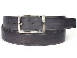 PAUL PARKMAN Men's Leather Belt Hand-Painted Gray (ID#B01-GRAY)