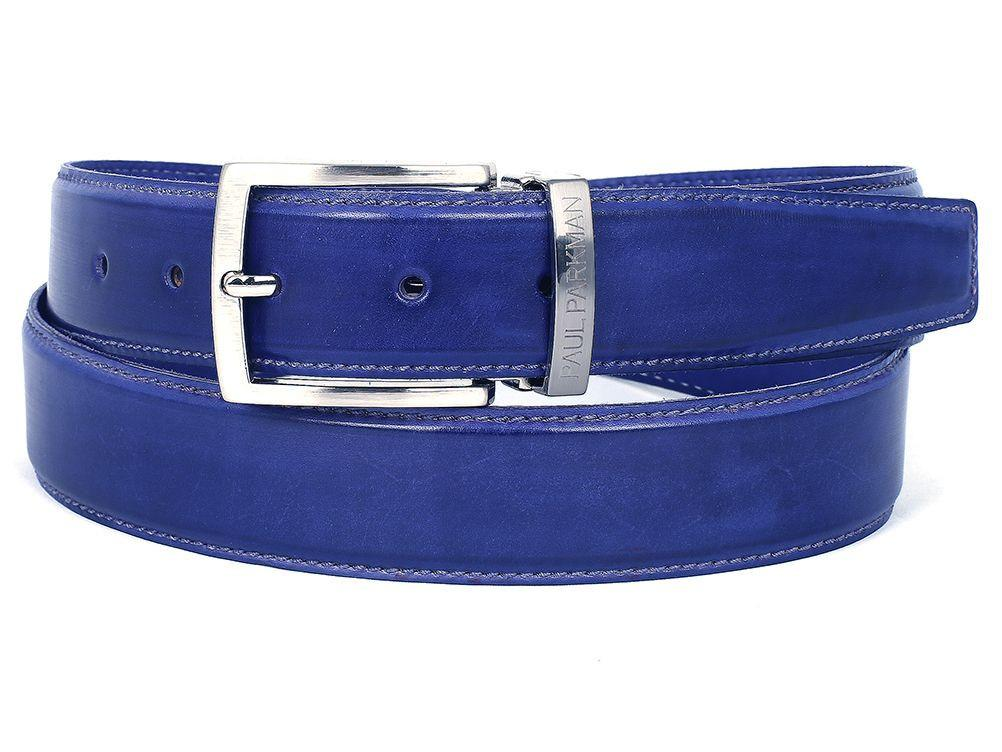 PAUL PARKMAN Men's Leather Belt Hand-Painted Cobalt Blue (ID#B01-BLU)