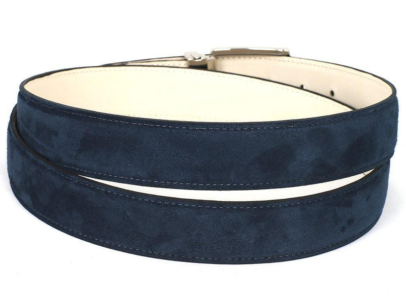 Men Fashion - PAUL PARKMAN Men's Navy Suede Belt