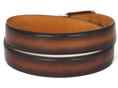 Men Fashion - PAUL PARKMAN Men's Leather Belt Hand-Painted Brown and Camel