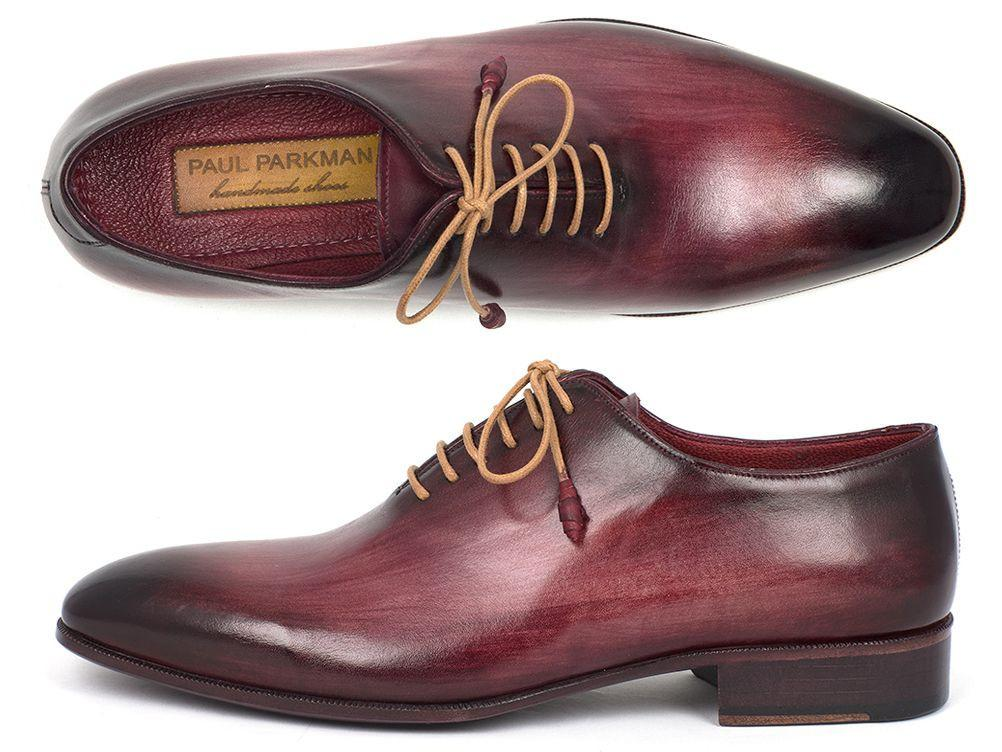 Men Fashion - Paul Parkman Men's Burgundy Wholecut Plain Toe Oxfords