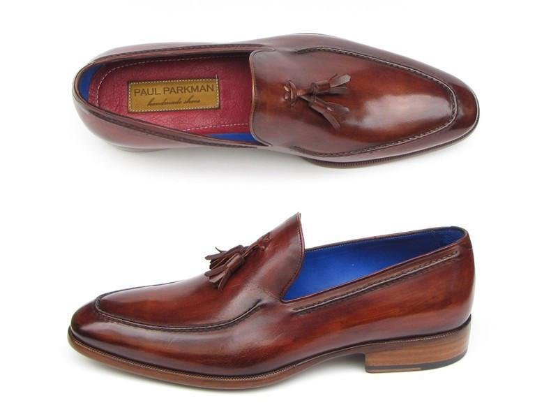 Paul Parkman Men's Tassel Loafer Brown Leather Upper and Leather Sole