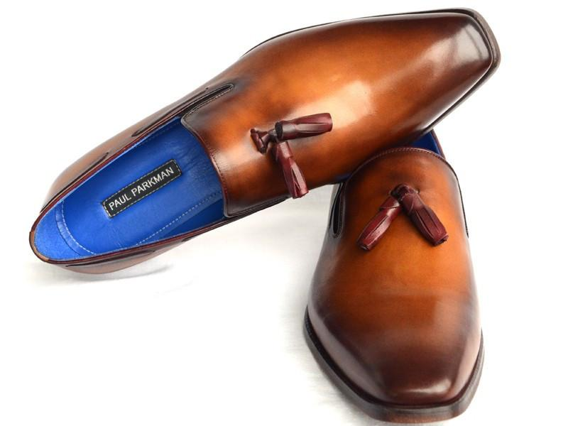 Paul Parkman Men's Tassel Loafer Walnut Leather Sole Leather Upper