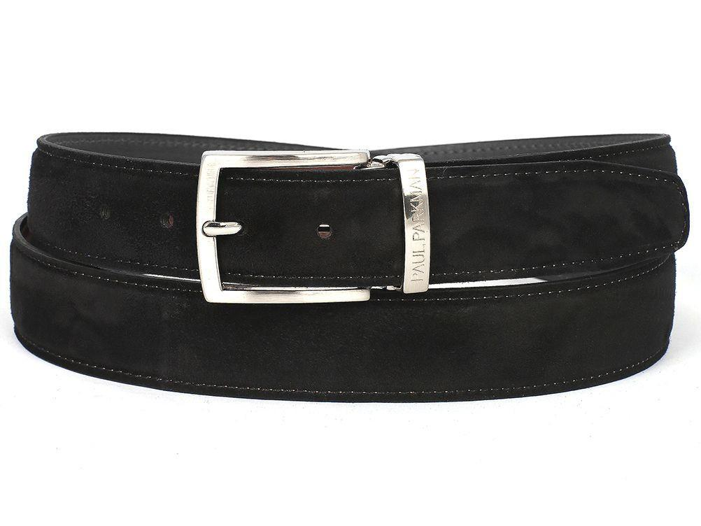 Men Fashion - PAUL PARKMAN Men's Black Suede Belt