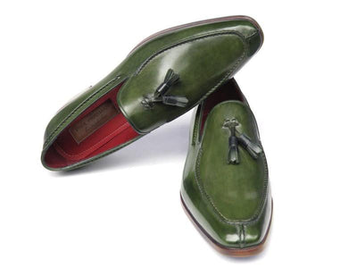 Paul Parkman Men's Tassel Loafer Green Hand Painted Leather