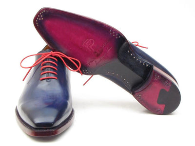 Men Fashion - Paul Parkman Goodyear Welted Wholecut Oxfords Navy Blue Hand-Painted