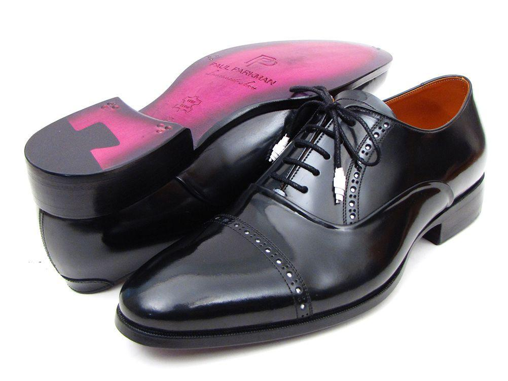 Men Fashion - Paul Parkman Men's Captoe Oxfords Black Dress Shoes