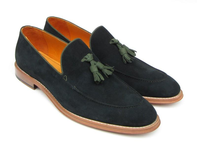 Paul Parkman Men's Tassel Loafer Green Suede Shoes