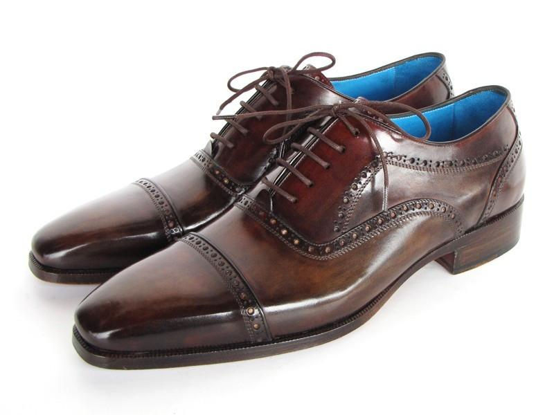 Paul Parkman Men's Captoe Oxfords Anthracite Brown Hand-Painted Leather (ID#024-ANTBRW)
