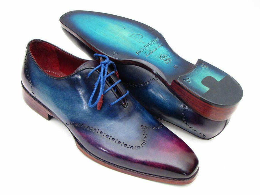 Men Fashion - Paul Parkman Blue & Purple Wingtip Oxfords