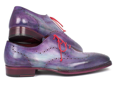 Men Fashion - Paul Parkman Men's Wingtip Oxfords Goodyear Welted Purple