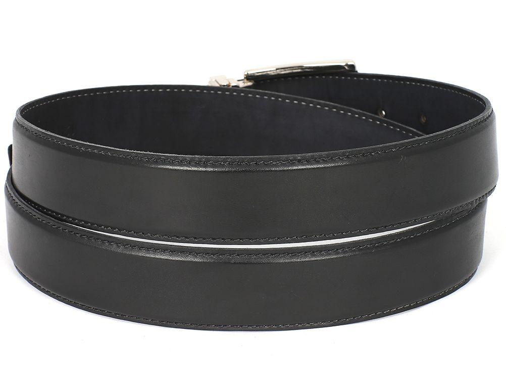 PAUL PARKMAN Men's Leather Belt Hand-Painted Black (ID#B01-BLK)
