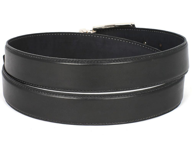 Men Fashion - PAUL PARKMAN Men's Leather Belt Hand-Painted Black