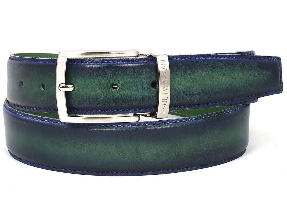 Men Fashion - PAUL PARKMAN Men's Leather Belt Dual Tone Blue & Green