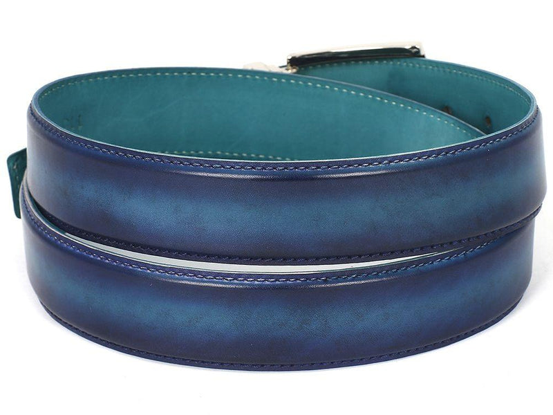 Men Fashion - PAUL PARKMAN Men's Leather Belt Dual Tone Blue & Turquoise