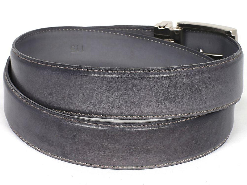Men Fashion - PAUL PARKMAN Men's Leather Belt Hand-Painted Gray