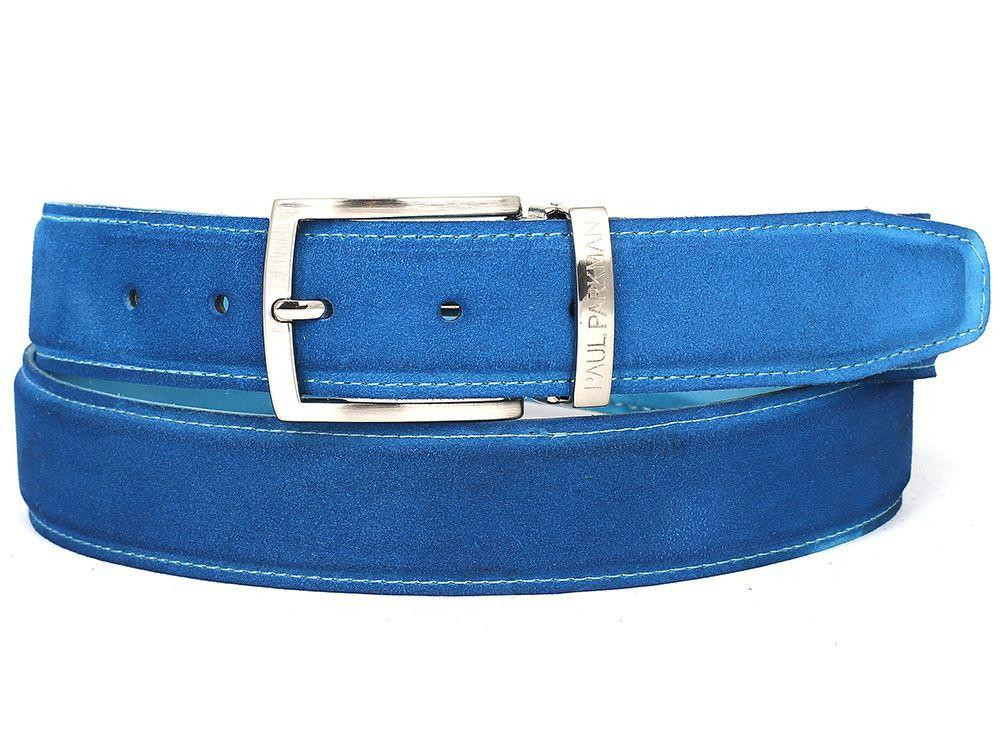 Men Fashion - PAUL PARKMAN Men's Blue Suede Belt
