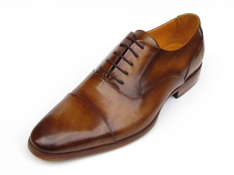 Men Fashion - Paul Parkman Men's Captoe Oxfords Brown Leather