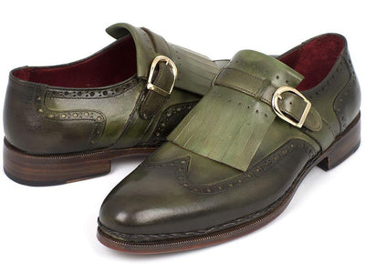 Men Fashion - Paul Parkman Men's Wingtip Monkstrap Brogues Green Hand-Painted Leather Upper With Double Leather Sole