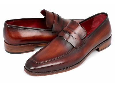Paul Parkman Men's Penny Loafer Bordeaux and Brown Calfskin