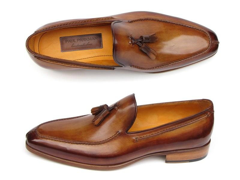 Paul Parkman Men's Tassel Loafer Camel & Brown Hand-Painted