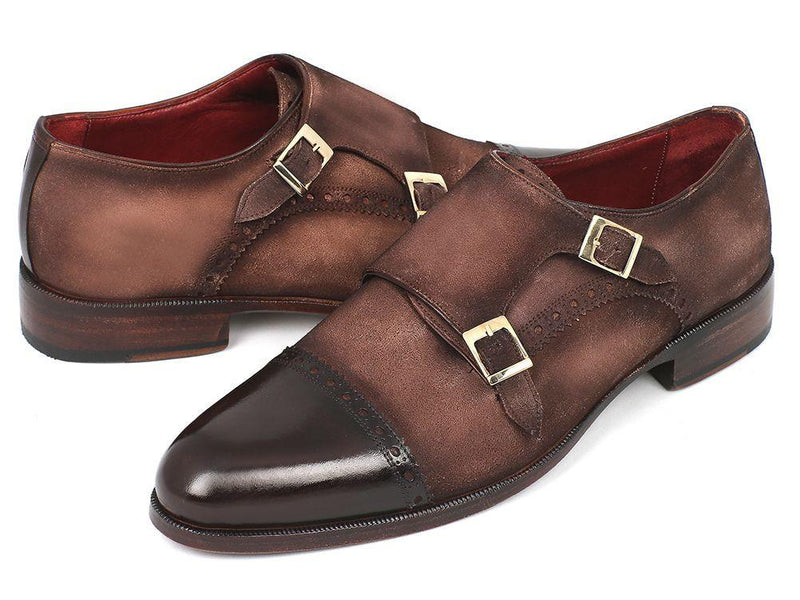 Men Fashion - Paul Parkman Men's Double Monkstrap Captoe Dress Shoes - Brown / Beige Suede Upper and Leather Sole