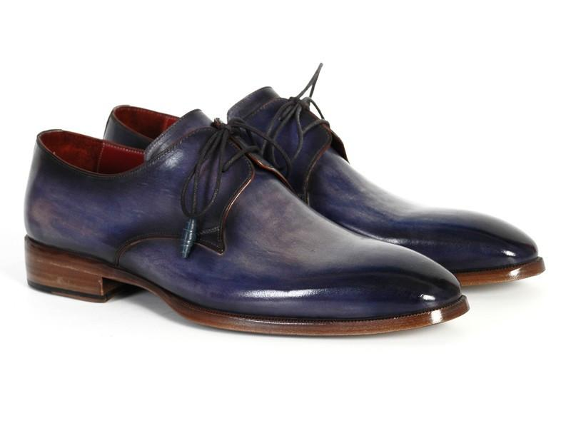 Men Fashion - Paul Parkman Men's Blue & Navy Hand-Painted Derby Shoes