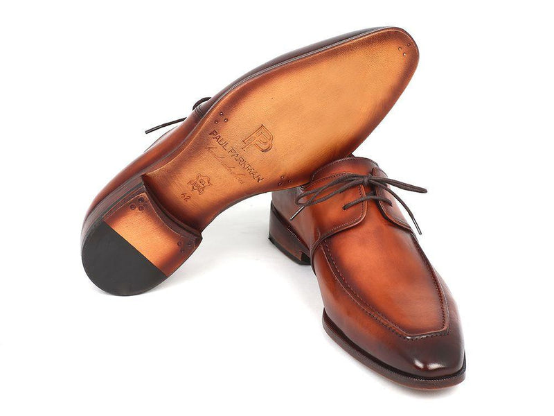 Men Fashion - Paul Parkman Brown Leather Apron Derby Shoes For Men