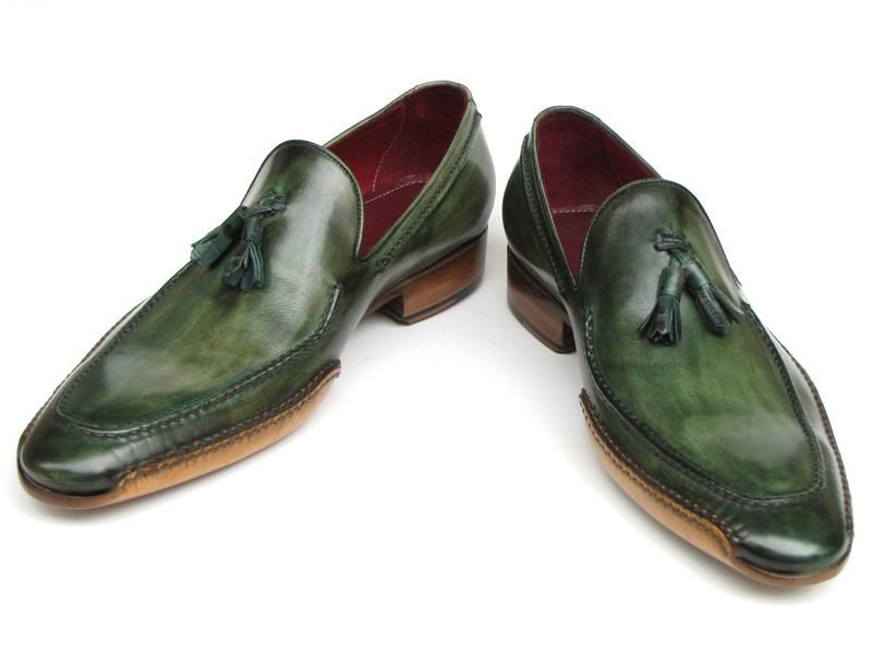 Paul Parkman Men's Side Handsewn Tassel Loafer Green Shoes (ID#082-GREEN)