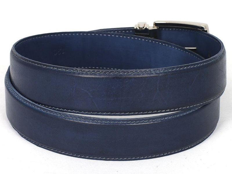 Men Fashion - PAUL PARKMAN Men's Leather Belt Hand-Painted Navy