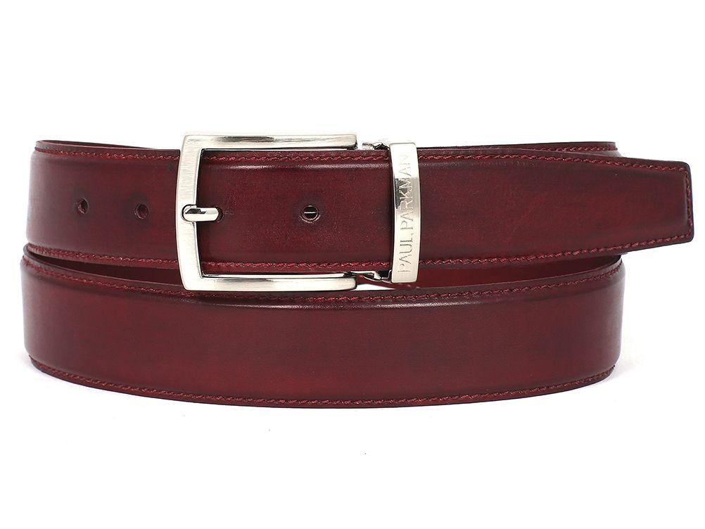 Men Fashion - PAUL PARKMAN Men's Leather Belt Hand-Painted Bordeaux