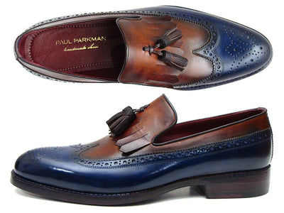 Men Fashion - Paul Parkman Kiltie Tassel Loafer Navy & Tobacco