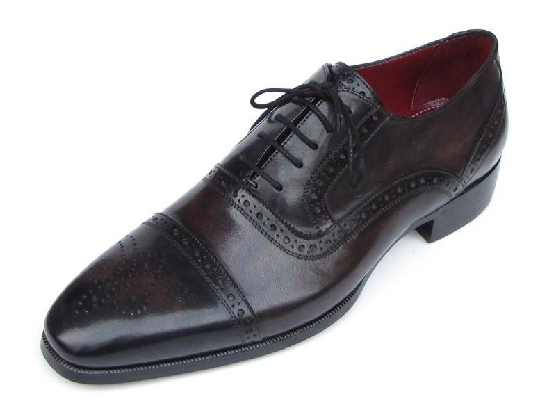 Men Fashion - Paul Parkman Men's Captoe Oxfords Bronze & Black Shoes
