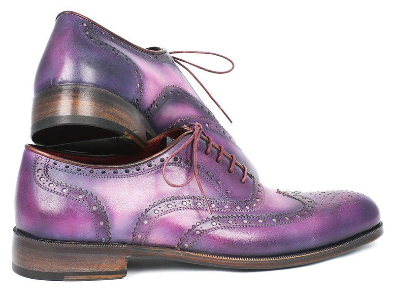 Men Fashion - Paul Parkman Wingtip Oxfords Purple & Navy Handpainted Calfskin